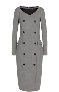 Приталенное шерстяное платье с V-образным вырезом Ralph Lauren