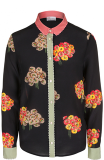 Шелковая блуза прямого кроя с цветочной вышивкой REDVALENTINO