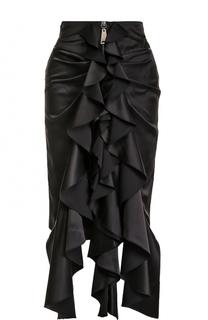 Шелковая мини-юбка с оборками Saint Laurent