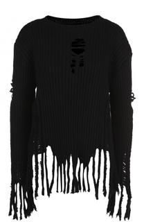 Шерстяной пуловер с круглым вырезом и бахромой Balmain