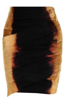 Бархатная мини-юбка с драпировкой Balmain