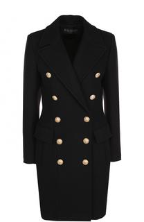 Приталенное двубортное пальто Balmain