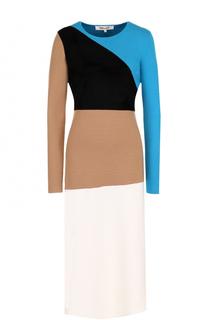 Приталенное шерстяное платье с длинным рукавом Diane Von Furstenberg