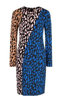 Платье-миди с длинным рукавом и контрастным принтом Diane Von Furstenberg