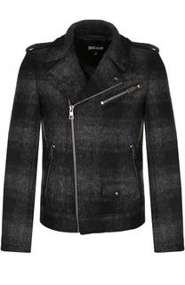 Шерстяная куртка в клетку с косой молнией Just Cavalli