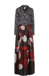Шелковое платье-макси с принтом sara roka