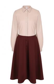 Приталенное платье-рубашка с контрастной юбкой sara roka