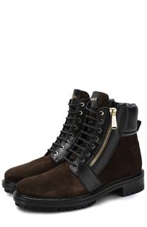 Высокие замшевые ботинки на шнуровке с кожаной отделкой Balmain