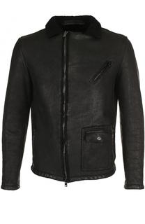 Кожаная куртка на молнии с отложным воротником Salvatore Santoro