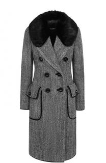 Приталенное шерстяное пальто с отделкой из меха бобра Dolce & Gabbana