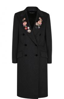 Шерстяное пальто с контрастной отделкой Dolce & Gabbana