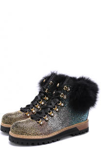 Кожаные ботинки с отделкой стразами и мехом Le Silla