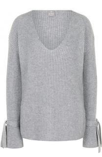 Кашемировый пуловер фактурной вязки с V-образным вырезом FTC