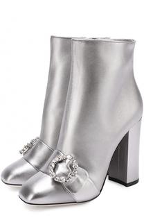 Ботильоны из металлизированной кожи на устойчивом каблуке Dolce & Gabbana