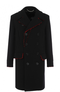 Двубортное шерстяное пальто с контрастной отделкой Givenchy