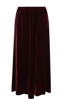 Однотонная бархатная юбка-миди MCQ