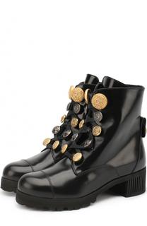 Кожаные ботинки с декоративной шнуровкой Dolce & Gabbana