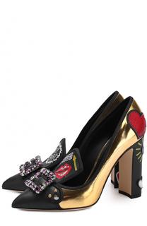 Кожаные туфли Vally с декоративной отделкой Dolce & Gabbana