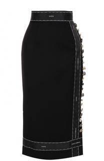 Шерстяная юбка-карандаш с декоративной отделкой Dolce & Gabbana