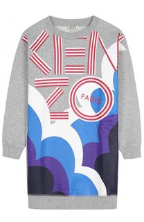 Хлопковое мини-платье с принтом Kenzo