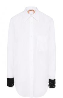 Хлопковая блуза прямого кроя с контрастной вышивкой на рукавах No. 21