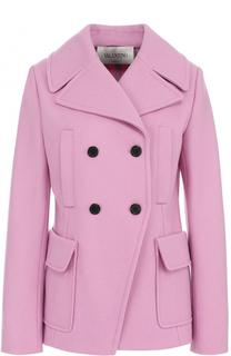 Укороченное шерстяное пальто с карманами Valentino