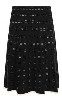 Шерстяная юбка-миди с контрастным принтом Tory Burch