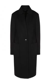 Шерстяное пальто прямого кроя Escada