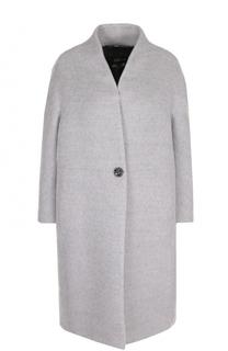 Однотонное шерстяное пальто свободного кроя Escada