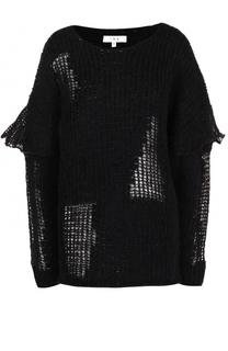 Шерстяной пуловер фактурной вязки с круглым вырезом Iro