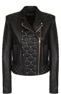 Приталенная кожаная куртка с косой молнией Balmain