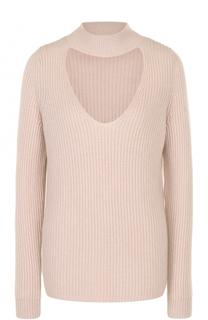 Кашемировый свитер фактурной вязки с разрезом FTC