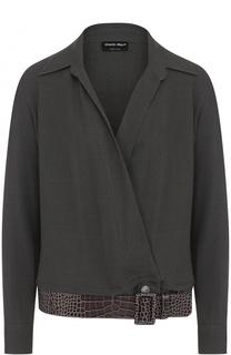Однотонная блуза с V-образным вырезом и ремнем Giorgio Armani