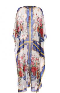 Туника с принтом из смеси шелка и хлопка Dolce & Gabbana