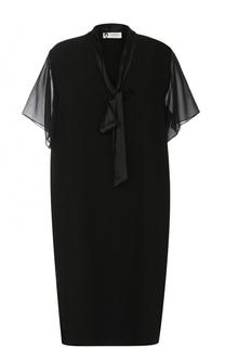 Бархатное платье-миди с V-образным вырезом Lanvin