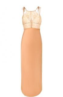 Шелковая сорочка-макси с кружевным лифом Stella McCartney