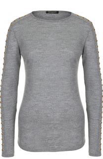 Шерстяной облегающий пуловер с круглым вырезом Balmain