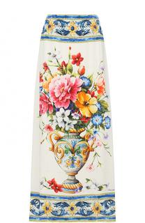 Шелковая юбка-макси с принтом Dolce & Gabbana