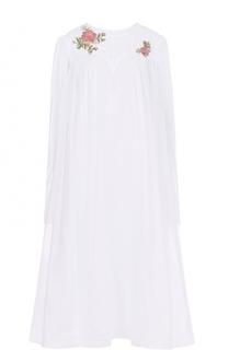 Хлопковое платье свободного кроя с вышивкой бисером Natasha Zinko