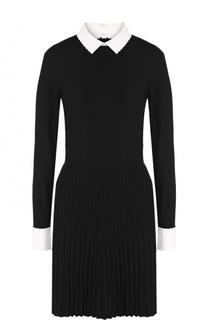 Шерстяное приталенное платье с плиссированной юбкой Tory Burch