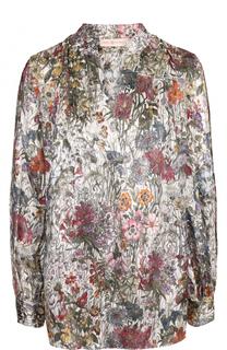 Шелковая блуза свободного кроя с принтом Tory Burch