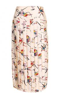 Шелковая плиссированная юбка-миди с принтом Tory Burch