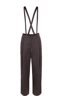 Однотонные брюки с защипами и подтяжками Armani Collezioni