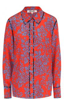 Шелковая блуза прямого кроя с принтом Diane Von Furstenberg