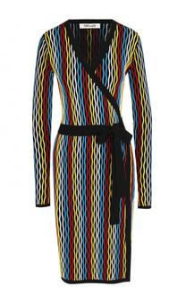 Шерстяное мини-платье с запахом и поясом Diane Von Furstenberg