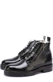 Кожаные ботинки на шнуровке с внутренней меховой отделкой Saint Laurent
