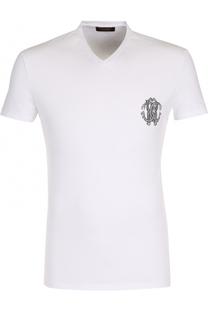 Хлопковая футболка с V-образным вырезом Roberto Cavalli
