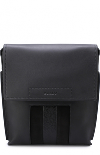 Кожаная сумка-планшет с замшевой отделкой Bally