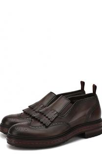 Кожаные ботинки без шнуровки с бахромой Santoni