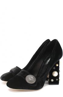 Бархатные туфли Jackie на декорированном каблуке Dolce & Gabbana